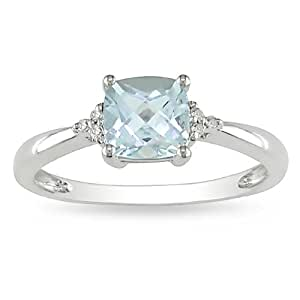 10k White Gold Accent Diamond and Aquamarine Ring (0.024 Cttw, G-H Color, I2-I3 Clarity)