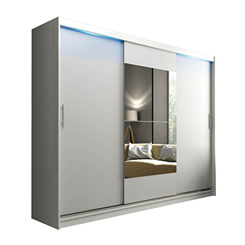 Schwebetürenschrank Kola mit Spiegel, LED-Beleuchtung, Hochwertiges Schlafzimmerschrank, Schlafzimmer, Jugendzimmer, Schiebetür, Garderobeschrank,...