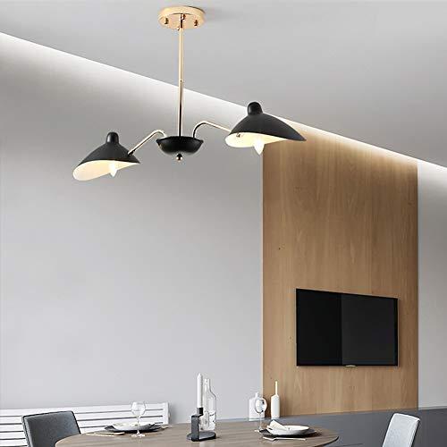Volt-warm Weiss-cfl-lampe (FEE-ZC Led Deckenleuchte Schwarz, Goldene Pendelleuchte Kronleuchter E14 Fassung 110V-220V Nordischer Glasschirm Für Schlafzimmer Wohnzimmer Esszimmer, 2 Head)