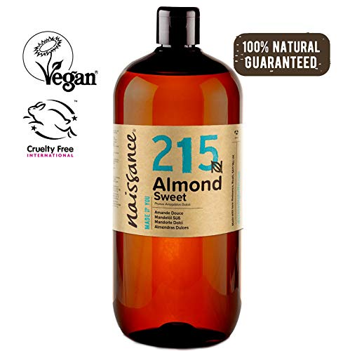 Naissance Aceite de Almendras Dulces n. º 215-1 Litro - 100% natural para humectar y equilibrar la piel, hidratar el cabello y todo el cuerpo.