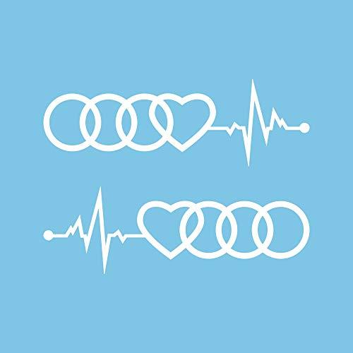 Autodomy Kompatibel mit Audi Reifen Herz Cardio Aufkleber Paket 2 Stück für Auto (Weiß)