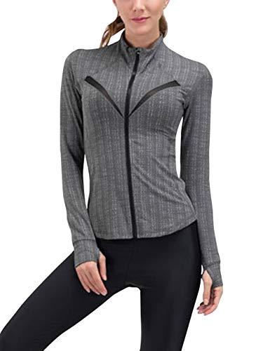 CITÉTOILE Damen Active Sport Quick Dry Zip Jacke Langarm Stretching Fitness Gym Lauftop Grey M