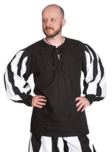 Andracor - Hochwertiges historisches Landsknecht Hemd - Hannes - Farbe: Schwarz / Weiß - Größe: M - Individuell einsetzbar für LARP, Mittelalter, Fantasy & Cosplay (Männlichen Larp Kostüm)