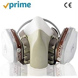 GOMOOY Masque à Gaz Filtre De Protection Ffp3   Nouveau Design 4 PIÈCES DE Rechange Inclus   Respirateur Demi-Masque Anti poussière Protection Respiratoire Travail Chimique Toxique Peinture  