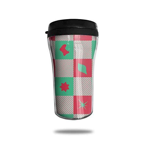 Classic Travel Mug Christmas Checkers Becher für Kaffee, Getränke, 8 Unzen, Anti-Spill Hot Pink Checker
