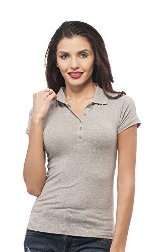 Hollywood Star Fashion Damen Polo-Shirt, klassisch, kurzärmelig Gr. Small, Heathergrey - Frauen Polo-shirts