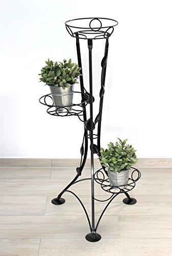 DanDiBo Blumentreppe Metall Schwarz 100 cm Blumenständer mit 3 Ablagen KW041 Blumensäule Pflanzenständer Pflanzensäule Blumenhocker