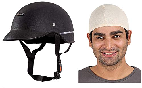 Autofy Habsolite All Purpose Safety Helmet with Strap (Black, Free Size) and Autofy Unisex Multipurpose Hair Protector Dust Pollution Skull Cap (Biege) Combo