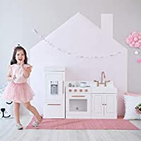 Teamson Kids TD-12863R Paris 3 Piece Wooden Pretend Play Toy Kitchen for Kids with Role Play Ice Maker & Accessories, White/Rose Gold