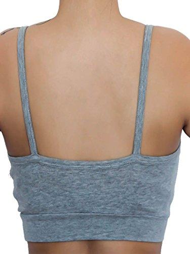Bustier, coton bio, Femme 's, Parure de lingerie, dame, yoga, Pilates, Fitness, brassière de sport grau / 2 er Pack