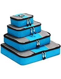 Organizer Valigia , Lebootree Cubi Organizzatori da Viaggio - 4 pezzi per bagaglio a mano, Borse per Viaggiare -Grande , Media, Misura piccola,Sottile(Acquamarina)