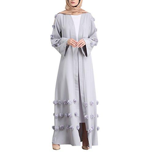 Foto de Zhhlinyuan Patrón Floral Musulmanes Abaya Estilo Vestido Largo Togas Abaya Dresses Casual Abrigo de la Chaqueta Completo Maxi Vestidos Cárdigan