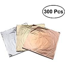 ULTNICE 300 unids hoja de oro de imitación de oro para la decoración de muebles de bricolaje artesanías (dorado + plata + cobre)