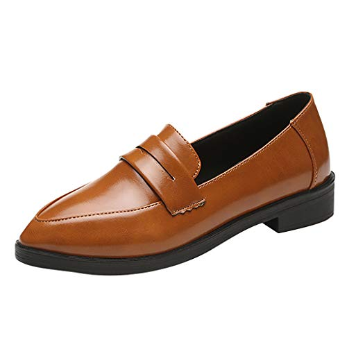 Damen Closed Ballerinas Moccasin Leder Loafers Ballet Flats Fahren Schuhe Neue Art- und Weisefrauen-feste flache spitze Zehe-niedrige Quadrat-Fersen-beiläufige Partei-Schuhe - Slouchy Boot-plattform