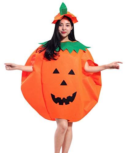 Kürbis Kostüm Ein - Aieoe Unisex Halloween Kürbis Kostüm Pumpkin Cosplay Süßes Kleid Wappenrock Jumpsuit mit Hut für Kinder Damen Herren Familie - Größe L für Körpergröße 150-180cm