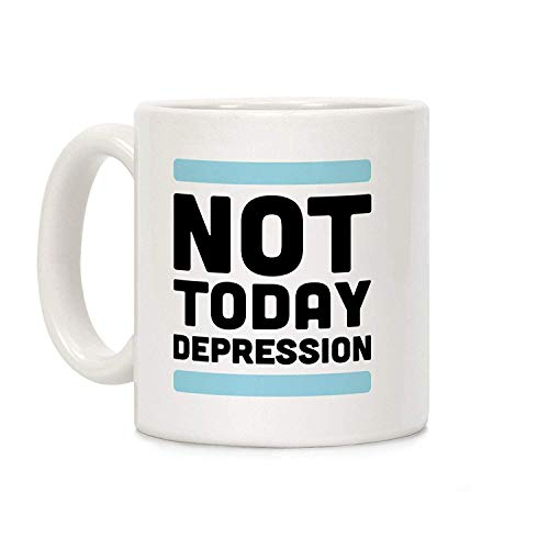 VVIANS Not Today, Depression White 11 Ounce Ceramic Coffee Mug for Men Women Office Work Adult3.14W x 3.74H(8x9.5cm) Depression Tumbler