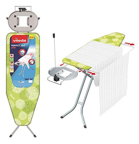 Vileda - Planche à repasser Perfect 2in1 Plus - Table à repasser avec prise de courant et repose-fer extra large - Hauteur réglable et bras extensible spécial draps