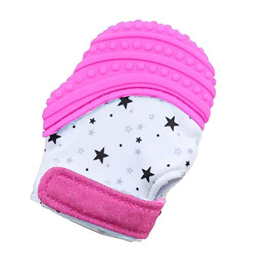 VIVOSUN Baby 1er Zahnen Handschuhe Schmerzlinderung Fäustling BPA Frei Silikon Zähne Beißring Zahnungshilfe für Neugeborenen Sterne Rosa