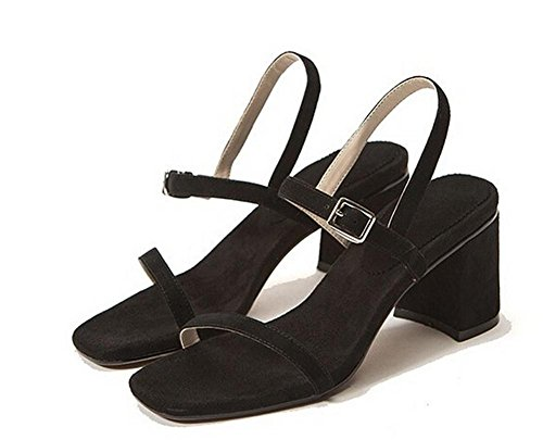 Beauqueen Sandales Pompes Women's Summer Chunky Heel Open-Toe Sling Back Casual Sandals Europe Taille 34-39 Black