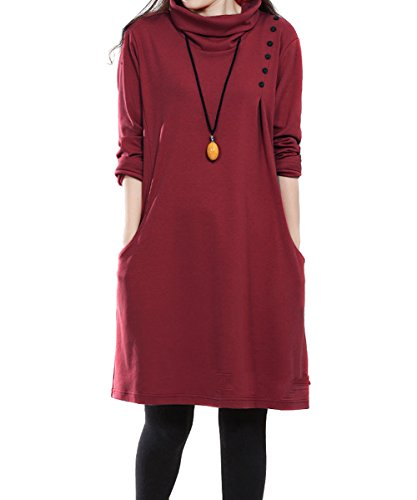 Ammy Fashion Women's Oversized Turtle Neck Jumper Dress
