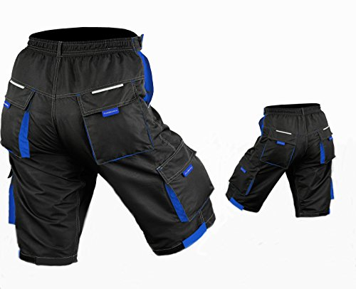 Pantaloncini da ciclismo, MTB Mountain Bike Off Rd, staccabile, imbottita, con fodera interna in Lycra, colore: nero/blu - Nero/Blu royal