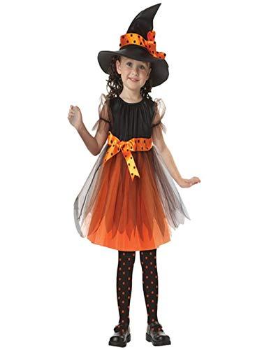 BaZhaHei Kleinkind Kinder Baby Mädchen Halloween Kleidung Kostüm Kleid Party Kleider + Hut Outfit (13-15T, Gelb)