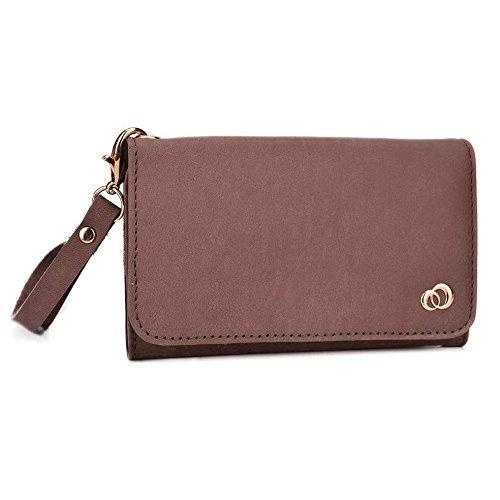 Kroo Pochette en cuir véritable pour téléphone portable pour Sharp Aquos cristal 2 Marron - peau Marron - peau