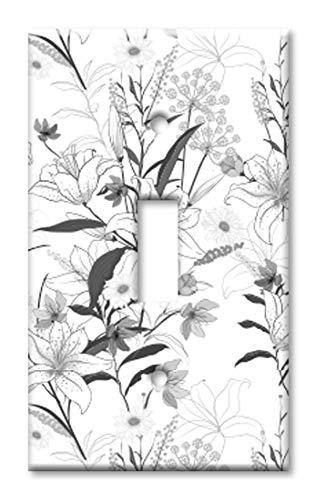 Grayscale Floral Line Art Wandplatte/Schalterplatte Einzel-Kippschalter Mehrfarbig -
