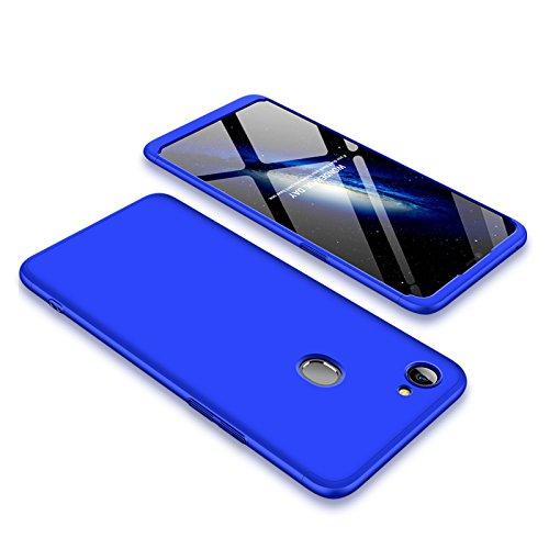 PLECUPE Oppo F7 Plastik Hülle, Oppo F7 Hülle Cover, Ultra Dünn Stylich 3 in 1 360 Grad Ganzkörper Schützend PC Kunststoff Hard Handyhülle Fall für Oppo F7, Blau
