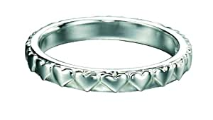 Element Sterling Silver, Ladies', R2768, Stackable Band Ring with Engraved Hearts - Size Large