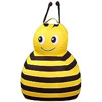 Preisvergleich für FOONEE Sitzsack, gefüllte Tier-Aufbewahrung, Sitzsack-Organizer, Premium-Canvas, für Kinderspielzeug, Haushalt, 65 x 84 cm Biene