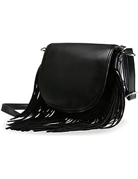 LATH.PIN Damen Vintage Umhängetasche Schultertasche mit Fransen Troddelbeutel Messenger Tasche
