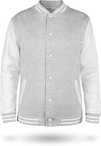 normani Kinder College Jacke für Jungen und Mädchen mit Ärmeln in Kontrastfarben Farbe Sport Grey/White Größe 9-10 (140)