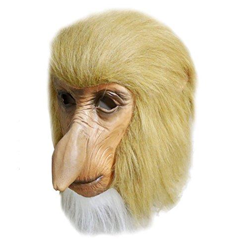 MASCARELLO Nasenaffe Maske Lange Nase Latex Tier Kostüm Halloween Hirsch Nacht Karneval Prop Party Maske Cosplay Maskerade (Vollständige Tier Kostüm)