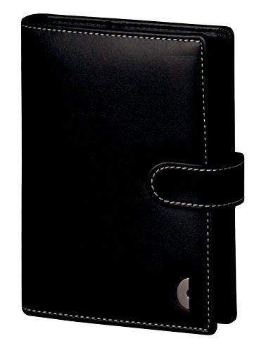Chronoplan 50117 Terminplaner Mini mit Lasche , Organizer Kunstleder Ringbuch mit Kalender 2017, 1 Stück, schwarz