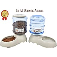 YGJT Automatic Pet Feeder Dog/Cat Food with Water Dispenser US FDA Certification-2 Pieces-Water Bowl Dish 3.75L(0.99Gals) (Automatic feeder)