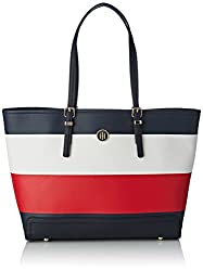 Tommy Hilfiger Honey Ew Tote Corp Stripe, Women's Tote, Black (Corporate Mix), 14x49x32 Cm (B X H X T)