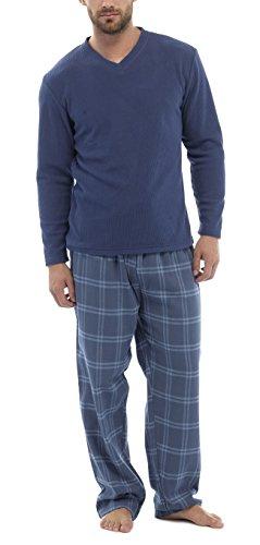 Herren 2-teilig Luxus Gesamtlänge Pyjama Set Warm Winter Thermo / Jersey Oberteil Luxus Flanell Lounge-hose Herren Jungen Pjs Pj Geschenk Blau Kariert Größe L