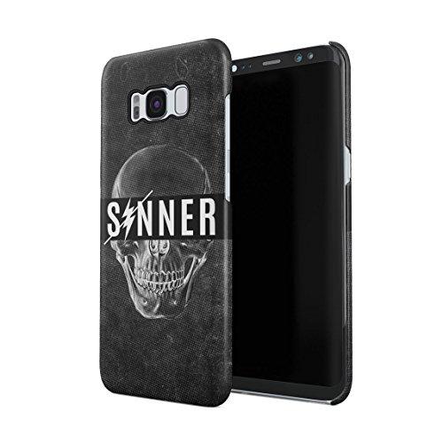 Schwarz Realistic Grunge Sinner Human Skull Dünne Rückschale aus Hartplastik für Samsung Galaxy S8 Plus Handy Hülle Schutzhülle Slim Fit Case cover