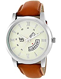 WM White Dial Brown Leather Strap Premium Branded Limited Edition Day And Date Collection Watch For Men DDWM-057