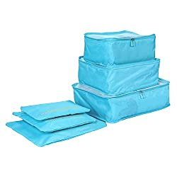 Cocogo Packing Cubes Travel Organizers Luggage Compression Pouches--6 Sets Travel Accessories(sky Blue)