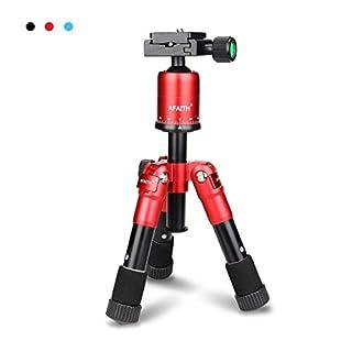 AFAITH Ultra Portable Faltbare Aluminiumlegierung Mini Stativständer Kleine Kamerastativ Kompakt Tabletop Makro Kit mit CK - 30 Kugelkopf für Canon Nikon DSLR Kamera und Smartphone Rot TM026
