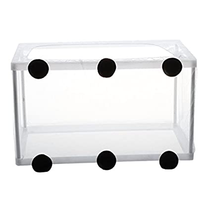 SODIAL(R) Fish Tank Plastic Frame White Net Fry Hatchery Breeder with Suction Cups 3