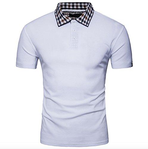 WSLCN Herren Sommer Kurzarm Polo T-shirt Karierte Kragen einfarbig Weiß