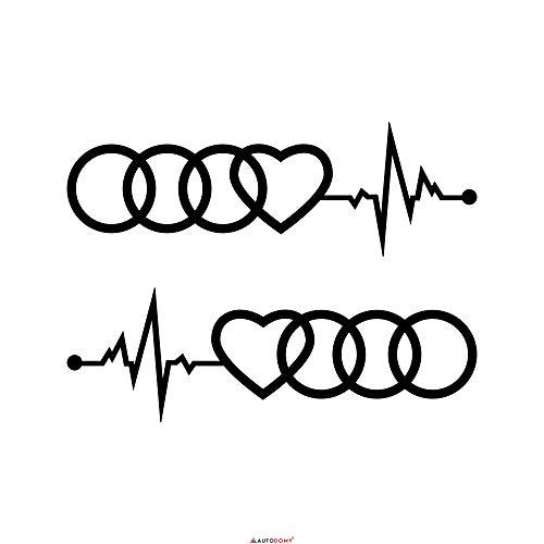 Autodomy Confezione Adesivi Compatibile con Audi Anelli Cuore Cardio 2 Pezzi per Auto (Nero)