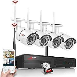 Kits de Vidéosurveillance,Système de Sécurité sans Fil ANRAN, 4CH 1080P IP Caméra,Fonction de Hydrofuge extérieure,l'alerte de la détection de Mouvement et accès à Distance,1TB Disque Dur
