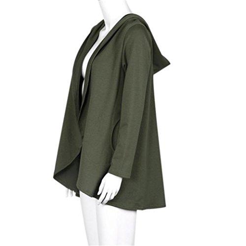 Manteau Femmes Irregular capuche, pied de col à manches longues Veste Armée verte
