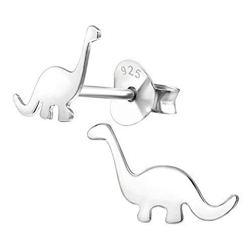 Ohrstecker Kinderschmuck Dinosaurier flach glanz Sterling Silber 925 (Dinosaurier-kid)