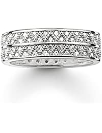 THOMAS SABO Women Band Ring white zig zag 925 Sterling Silver TR2051-051-14