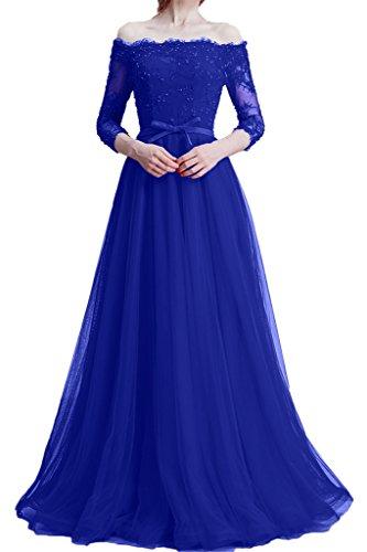ivyd ressing Damen Zaertlich 3/4maniche scollo a U pizzo & Tulle Abito del partito Prom abito Fest vestito abito da sera blu royal